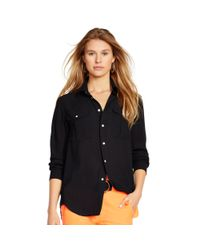 Polo Ralph Lauren - Black Crepe Long-sleeve Shirt - Lyst