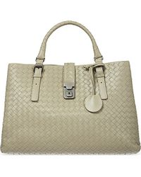 Bottega Veneta | Natural Roma Intrecciato Leather Tote | Lyst