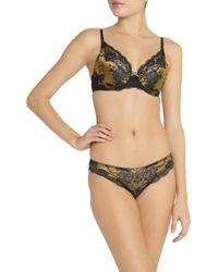 Elle Macpherson - Black Oasis Jacquard And Lace Underwired Bra - Lyst
