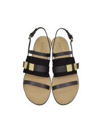 See By Chloé - Chelsey Black Leather And Suede Flat Sandal - Lyst