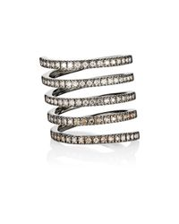 Roberto Marroni | Metallic Women's Mixed-diamond Spiral Ring | Lyst