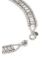 Philippe Audibert - Metallic Crystal Strass Floral Ornament Necklace - Lyst