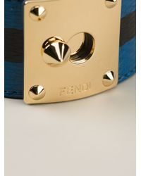 Fendi - Blue Chunky Striped Bracelet - Lyst