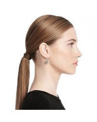 COACH - Metallic Sterling Pave Op Art Disc Earrings - Lyst