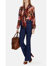 Karen Millen - Multicolor Floral-print Tie-neck Blouse - Lyst