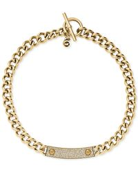 Michael Kors | Metallic Gold-Tone Reversible Pavè And Logo Plaque Toggle Necklace | Lyst