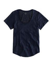 J.Crew | Blue Metallic Linen Scoopneck T-shirt | Lyst