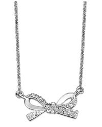 kate spade new york | Metallic Silvertone Pave Bow Pendant Necklace | Lyst