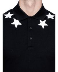 Givenchy - Black Star Appliqué Polo Shirt for Men - Lyst