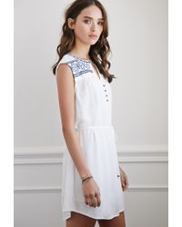 Forever 21 | Blue Embroidered Peasant Dress You've Been Added To The Waitlist | Lyst