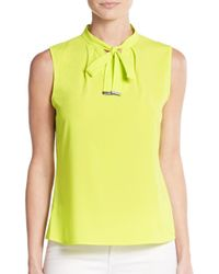 Calvin Klein | Yellow Tie-neck Keyhole Blouse | Lyst