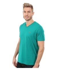 Lacoste | Green Short Sleeve V-neck Pima Jersey Tee Shirt for Men | Lyst