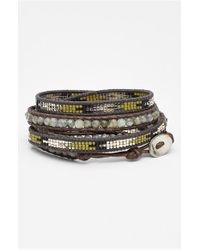 Chan Luu | Brown Beaded Leather Wrap Bracelet - Labradorite | Lyst
