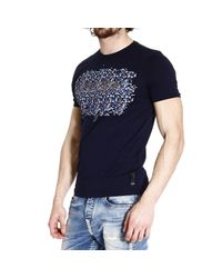 Fendi - Blue T-Shirt Half Sleeve With Print Scritta Mosaico for Men - Lyst