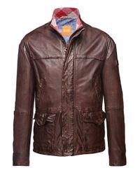 BOSS Orange - Brown Sheepskin Leather Jacket 'jerian' for Men - Lyst
