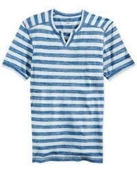 INC International Concepts | Blue True Indigo Dye Striped Split-Neck T-Shirt for Men | Lyst
