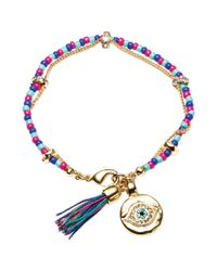 RACHEL Rachel Roy | Metallic 12k Goldplated Crystal Evil Eye Charm and Tassel Beaded Flex Bracelet | Lyst