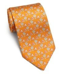 Ferragamo - Orange Sailboat Silk Tie for Men - Lyst