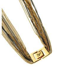 Diane von Furstenberg - Metallic Hematite Multi-Strand Fine-chain Necklace - Lyst