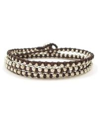 Aeravida - Triple Wrap Mini Silver Beads Single Strand Brown Cotton Rope Bracelet - Lyst