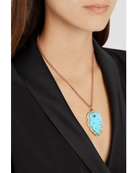 Amedeo - Metallic Rose Gold-Plated, Faux Turquoise And Diamond Snake Cameo Necklace - Lyst