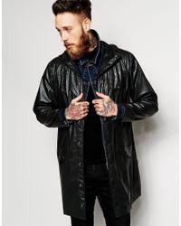 Rains Long Waterproof Jacket With Reptile Print in Black for Men ...