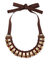 Marina Rinaldi - Brown Lodevole Horseshoe Bib Necklace - Lyst