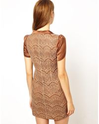 Traffic People - Brown Streamer Lace Dress - Lyst