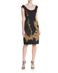ESCADA - Black Metallic Embroidered Dress - Lyst