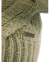 DIESEL - Green Chunky Knit Beanie - Lyst