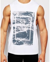 ASOS - White Sleeveless T-shirt With The 1975 Print And Dropped Armholes for Men - Lyst