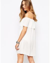 Glamorous | Natural Off Shoulder Sleeveless Dress With Frill Bust | Lyst