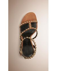 Burberry - Brown Studded House Check And Leather Platform Wedges - Lyst