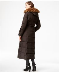 Calvin Klein | Brown Hooded Faux-fur-trim Down Puffer Maxi Coat | Lyst