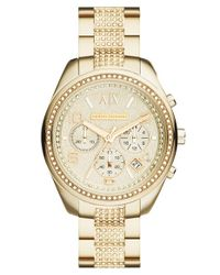 Armani Exchange - Pink Crystal Accent Chronograph Bracelet Watch - Lyst