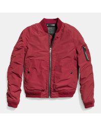 COACH | Red Waxed Nylon Aviator Jacket for Men | Lyst