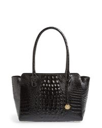 Brahmin | Black 'ashby' Croc Embossed Leather Tote | Lyst