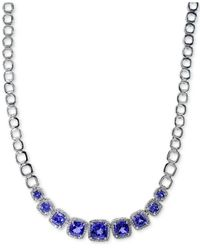 Effy Collection - Tanzanite (5-1/2 Ct. T.w.) And Diamond (5/8 Ct. T.w.) Frontal Necklace In 14k White Gold - Lyst