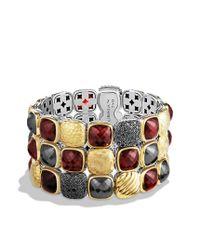 David Yurman | Chiclet Threerow Bracelet with Garnet Black Diamonds and Gold | Lyst