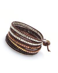 Nakamol - Multicolor Gudrun Wrap Bracelet-mix Metal/wine Leather - Lyst