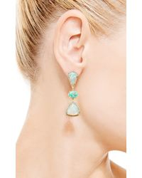 Nina Runsdorf - Green One Of A Kind Crystal Opal and Emerald Three Tier Earrings - Lyst
