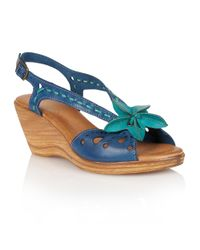Lotus | Blue Treviso Wedge Sandals | Lyst