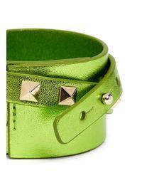 Valentino - Green Rockstud Double Wrap Leather Bracelet - Lyst