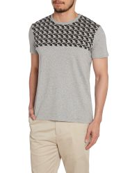 Ben Sherman | Gray Geo Block Pattern Crew Neck Regular Fit T-shirt for Men | Lyst