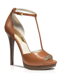 MICHAEL Michael Kors | Brown Open Toe T Strap Platform Sandals - Bloomingdale'S Exclusive Brenna High Heel | Lyst