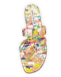 Manolo Blahnik - Multicolor Susa Painted Cork Sandals - Lyst