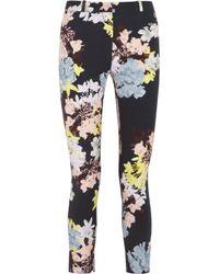 Erdem | Black Melinda Cropped Printed Stretchtwill Pants | Lyst