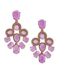 Oscar de la Renta   Purple Resin Faceted Chandelier Clip-On Earrings   Lyst
