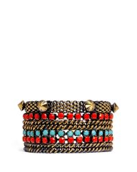 Iosselliani | Multicolor Chain And Stone Studded Bracelet | Lyst