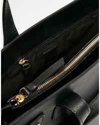ASOS - Black Leather Handheld Bag With Front Slit Pocket - Lyst